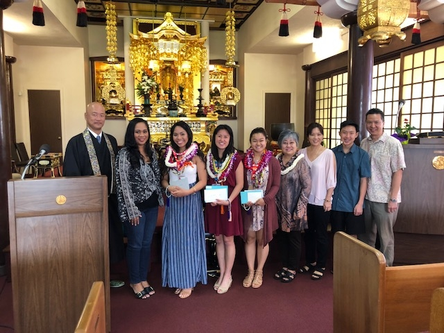 2018 Baacalaureate Service; graduates Lexus, Sheera, Caitlyn, with parents  and Rev. Soga